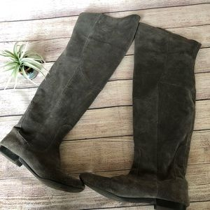White Mountain over the knee gray suede boot